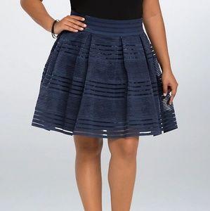 Torrid Striped Elastic Navy Full Skirt